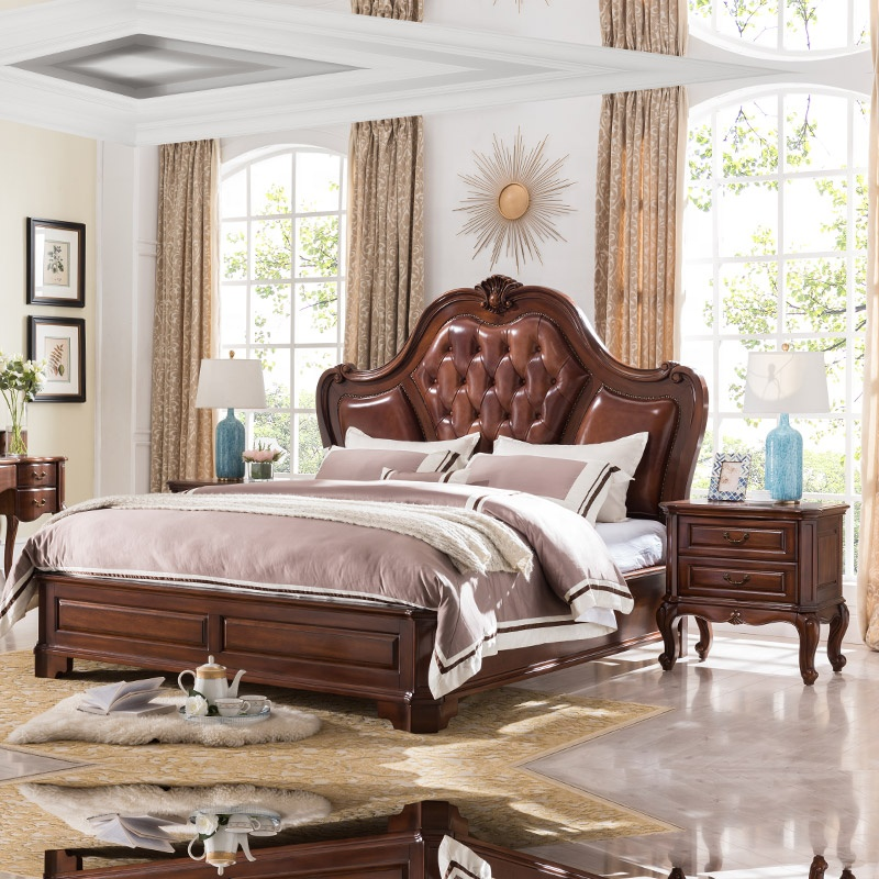 Ajj European Furniture Bedroom Sets Luxury King Size Genuine Leather Bed Set Style Bedroom Double Bed A603 27 Buy Genuine Leather Bed King Size European Furniture Furniture In Bedroom Sets European Double Bed Luxury