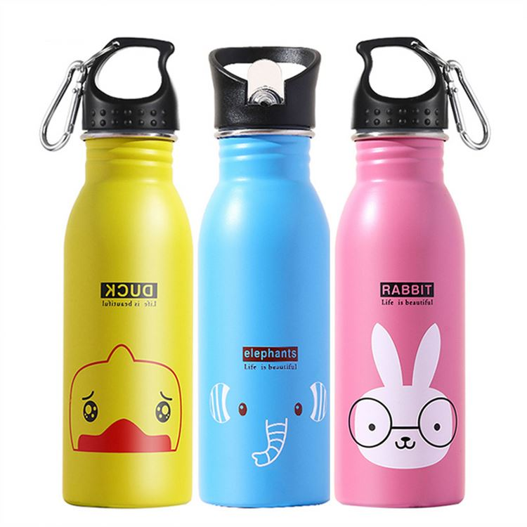500ml Kettle Water Bottle Outdoor Sports Stainless Steel Cartoon Insulated Cute