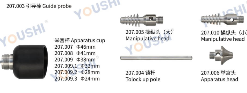 Uterus apparatus gynaecological cup type with manipulator pole guide probe