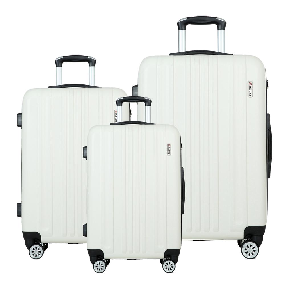 Белый чемодан на колесиках из АБС-пластика с защитой от столкновений, 20 дюймов