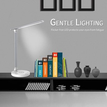smart Desk Lamp with Wireless Charger USB Charging Port Dimmable Eye-Caring Table Lamp with 5 Brightness Level for bedroom study