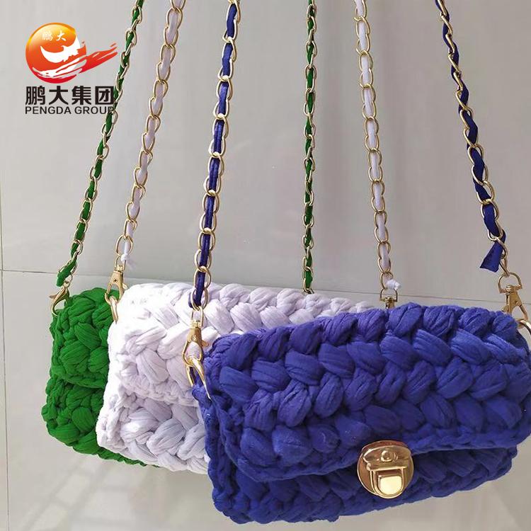 supplier cotton knitting thick t-shirt t shirt fabric line crochet maccaroni tshirt cloth yarn for handmade bag