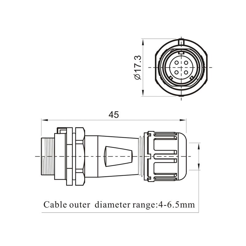 Weipu IP68 Водонепроницаемый круглый разъем для кабеля SP1111/S