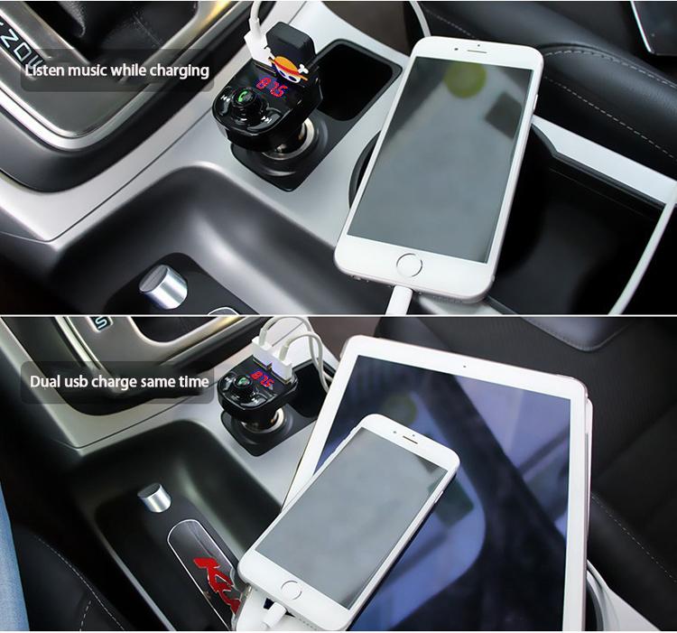 simr Car MP3 Audio Player FM Transmitter Handsfree Calling 5V 4.1A Dual USB Car Charger Bluetooth Car Kit