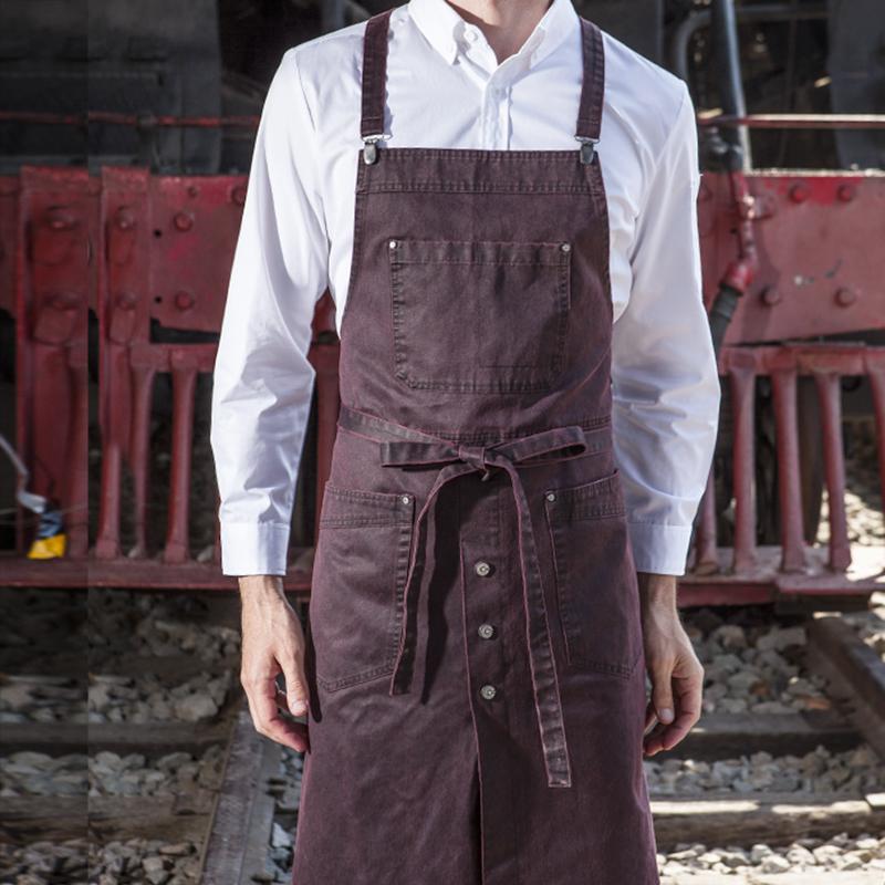 CHECKEDOUT RTS Original design fashionable barista bartender chef long BIB apron