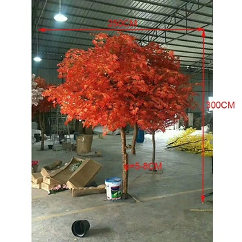 Guangzhou wholesale large indoor plants artificial red maple trees, 300cm height decorative plant markers