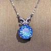 18k gold genuine 7.4ct blue topaz pendant necklace