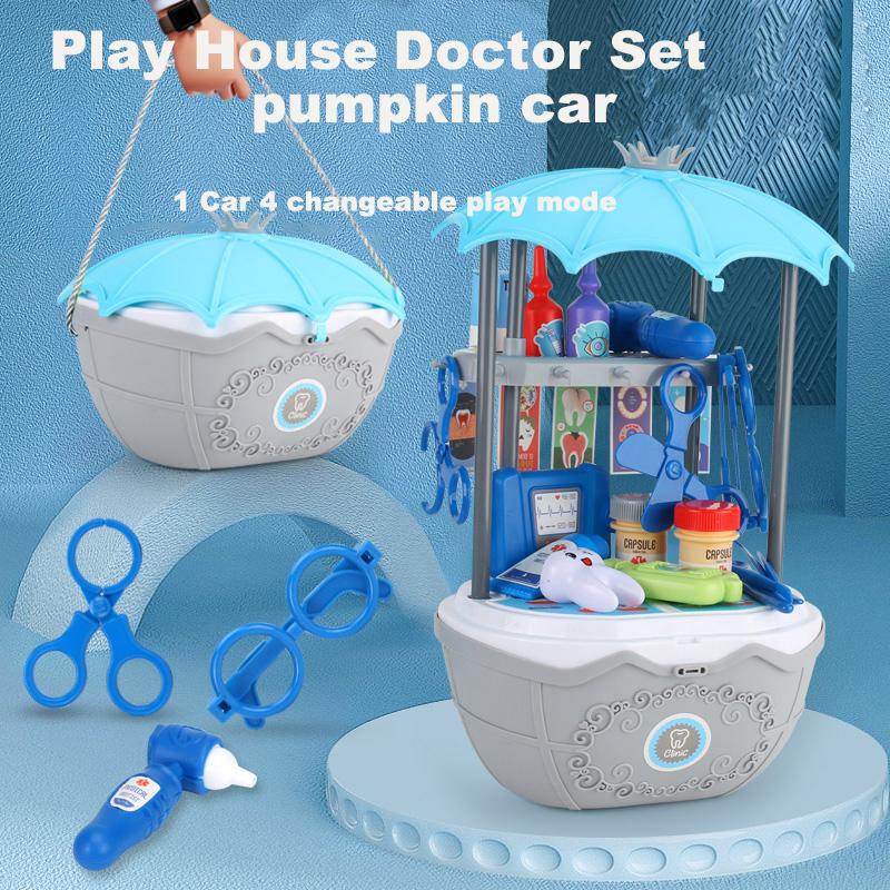 4 в 1, Amazon, лучшие продажи, пластиковые детские игрушки для докторов, больничная игра, набор для ребенка, как стоматолога, игровой автомобиль, легко хранить, сменный автомобиль