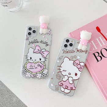 3D Doll Cartoon Hello Kitty Soft TPU Shockproof Case For IPhone 11 Pro Max XR X XS Max 8 7 Plus 6 6s Lovely Phone Skin Cover