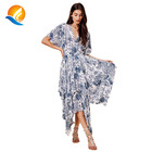 2020 summer women floral print deep v neck casual maxi dress with kimono sleeve open back adult ladies frocks