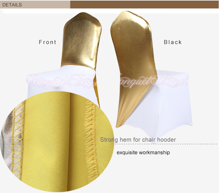 Bright Golden Metallic Half Chair Cover one leg Chair Bands for Wedding Event Party Decoration