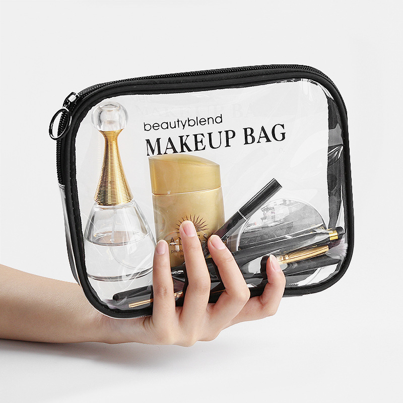 Makeup bag transparent Custom Printed logo High Quality Eva Pvc Waterproof Women Travel Clear Cosmetic Bag
