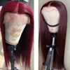 Red long straight human hair