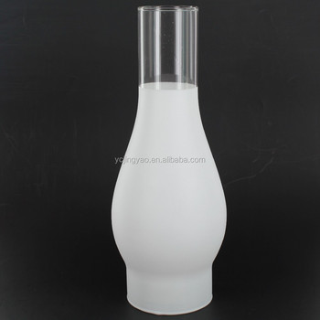 decorative hand blown vintage frosted glass oil lamp cover chimney shade