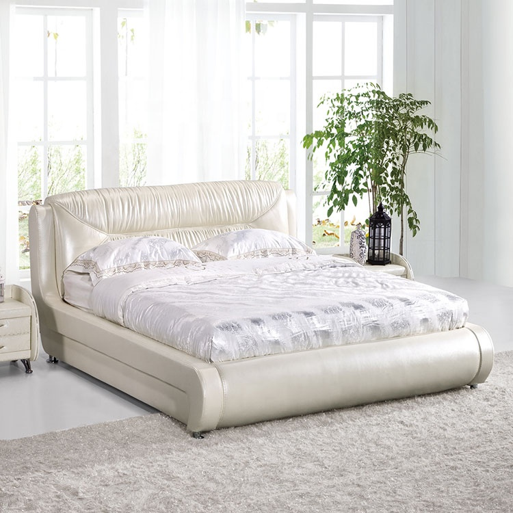 Modern antique simple ornate European style queen platform bed frame rice white queen size double leather bed
