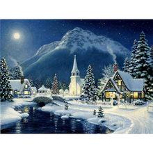 Алмазная живопись 5D своими руками, зимний пейзаж, вышивка Дом стразами, вышивка крестом, полная круглая мозаика, художественное украшение д...(Китай)