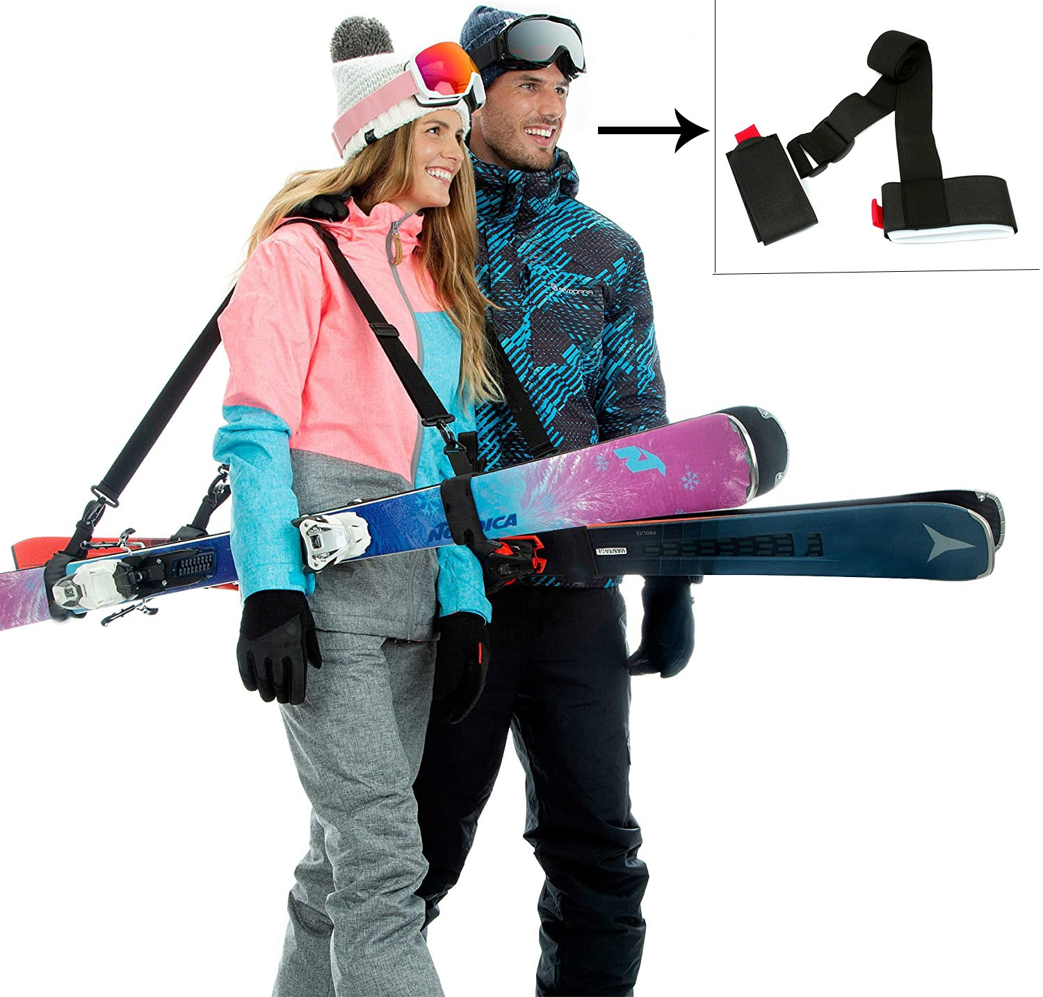 Hot sale Hook And Loop Ski Strap Carrier Strap For Binding Snowboard