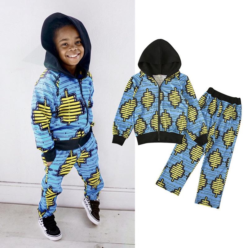2020 топ на молнии и брюки в богемном стиле с принтом, африканская одежда из 2 предметов для детей