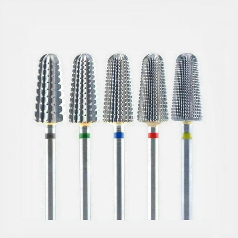 Инструменты для маникюра, металлическая пилка для ногтей, сверло для кутикулы, набор аксессуаров из карбида вольфрама, 5 в 1, сверла для ногтей