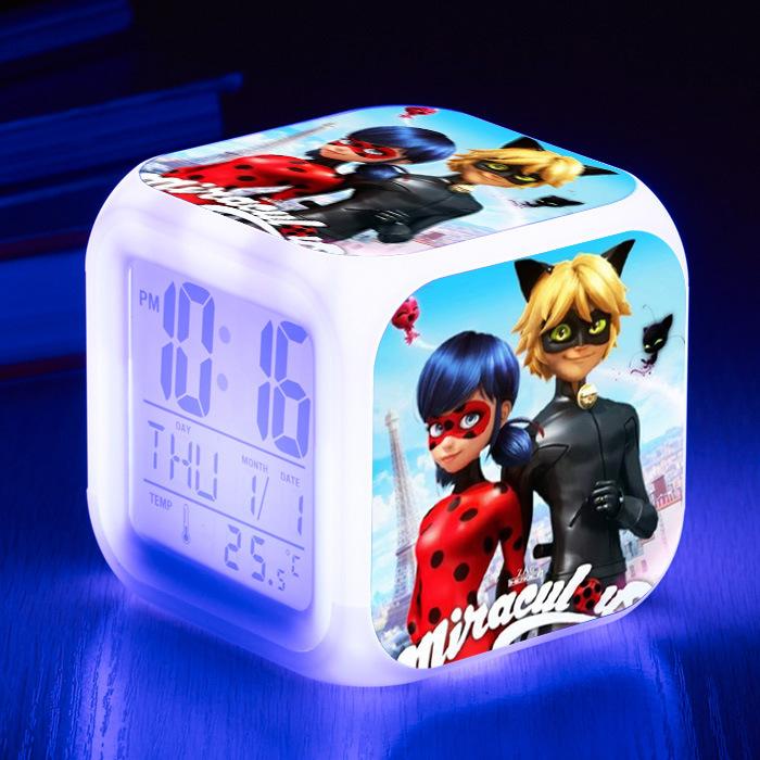 Светодиодная Ночная подсветка часы-будильник в мультяшном стиле для детей Girlhood