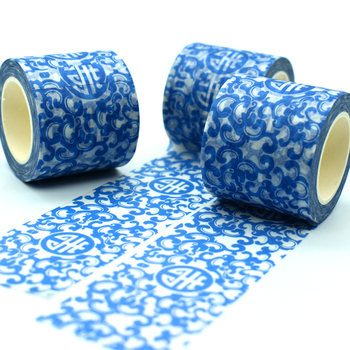 Chinese Style Washi Tape Pattern Of Blue And White Porcelain Sticker Custom Printed Colored Washi Masking Tape