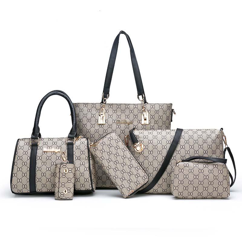 Best selling pu leather 6 pcs women handbag set