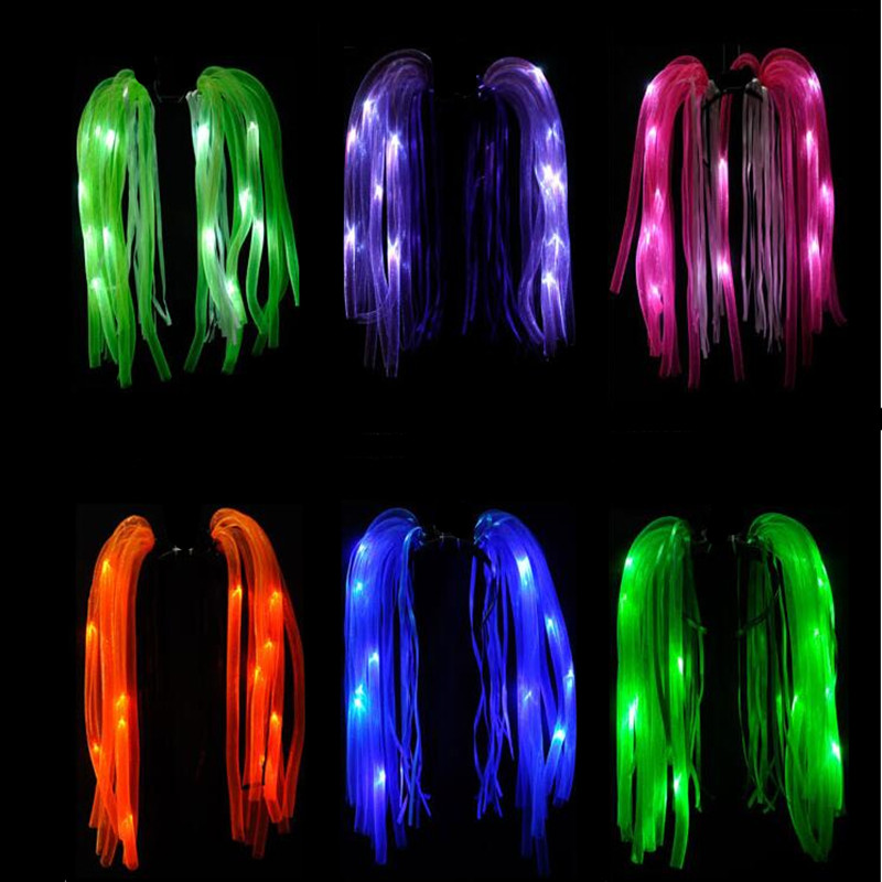 LED Flashing Noodle Hair Headband Kids Adults Light Up Pipe Headwear Birthday Hair Accessories Halloween Costume Christmas