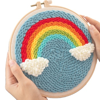 DIY cartoon Rainbow Punch Needle Embroidery Kit With Hoop for children Cross Stitch Handwork Set kids