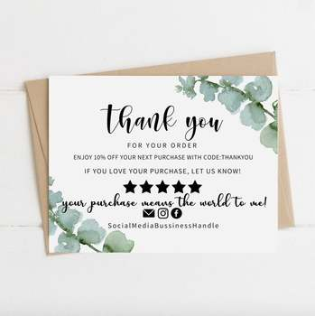 Parcel Insert Paper Card Mini Editable Thank You For Ordering Card