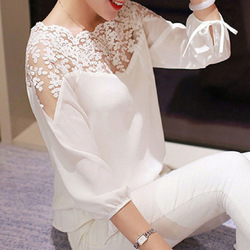 Chiffon Retro Loose Embroidery Lace Stitching Small Three-quarter Sleeves Blouse Mom Shirt