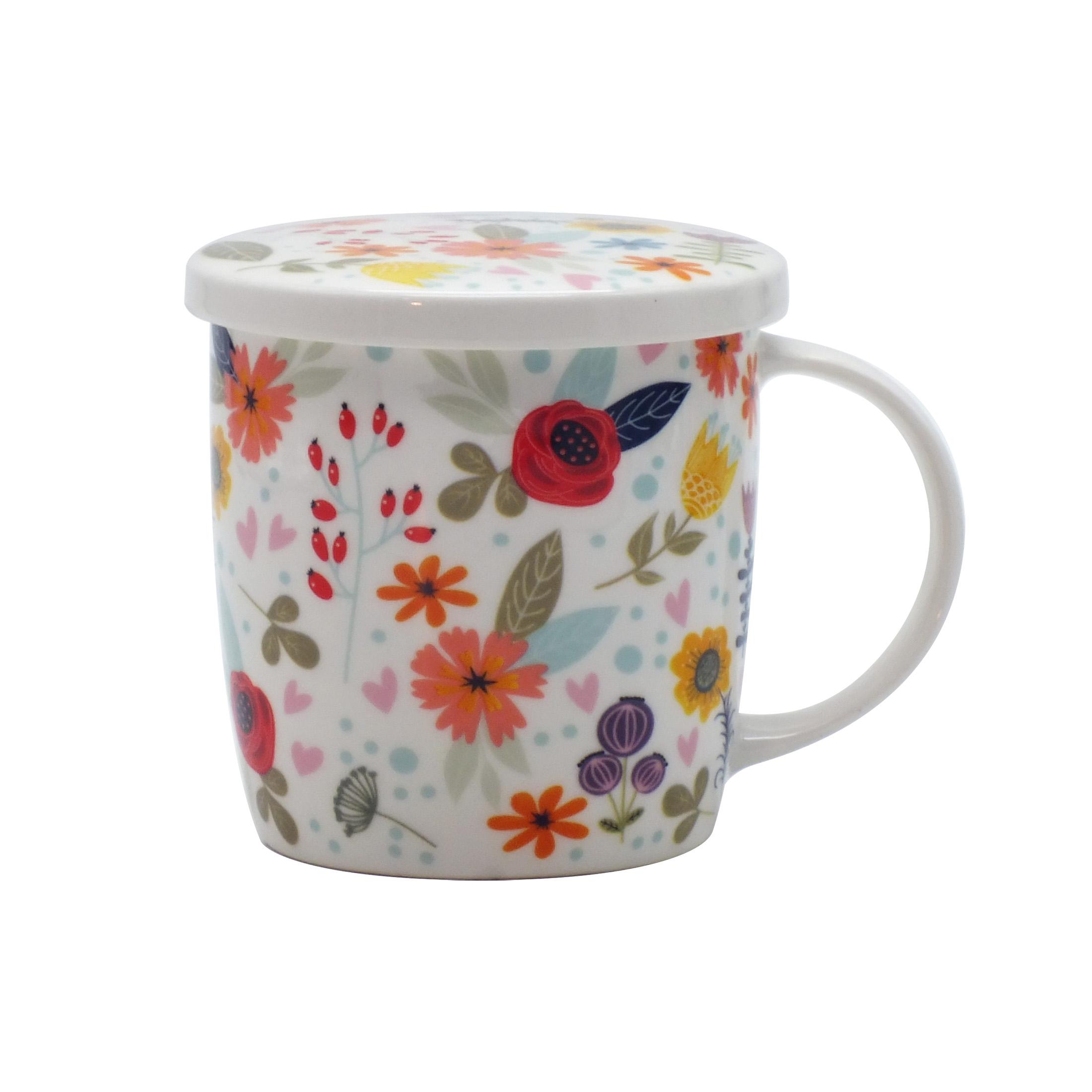 Handmade Stoneware 400 ml Mug with Quince Flower Detail