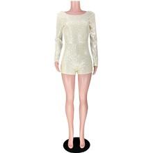 HAOYUAN, сексуальный комбинезон с блестками и открытой спиной, женский комбинезон, шорты, 2020, блестящий цельный клубный костюм, Облегающий комб...(Китай)