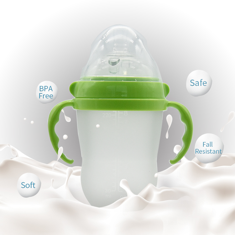 Wholesale 250ml/8oz BPA Free Food Grade Silicone Baby Feeding Bottles Anti Colic With Nipple