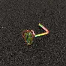 Imixlot носовые гвозди из нержавеющей стали L Форма Серьга из носового кольца пирсинг шпилька из розового золота полые винты кольцо для носа(China)