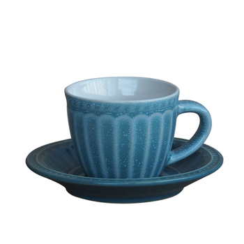 European creative ceramic coffee blue colored embossed 6pcs cup and saucer