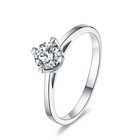 Silver Silver 925 Sterling Silver DE Color 0.5CT Moissanite Ring