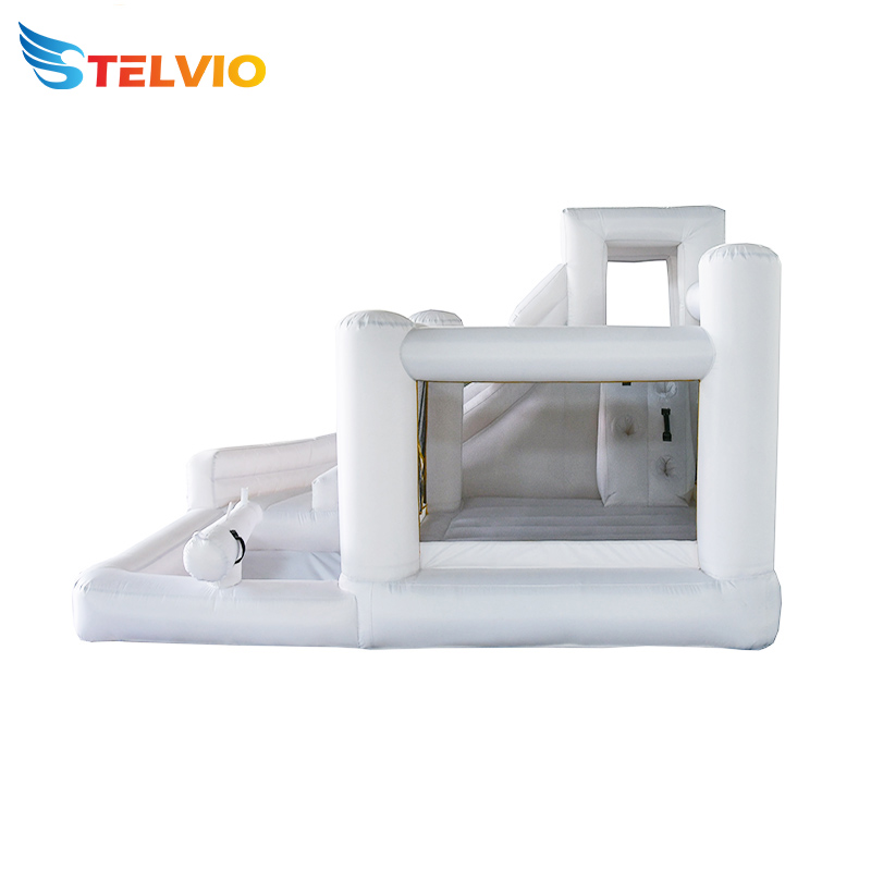 New style blow up jumping castle inflatable white modern bounce house with slide