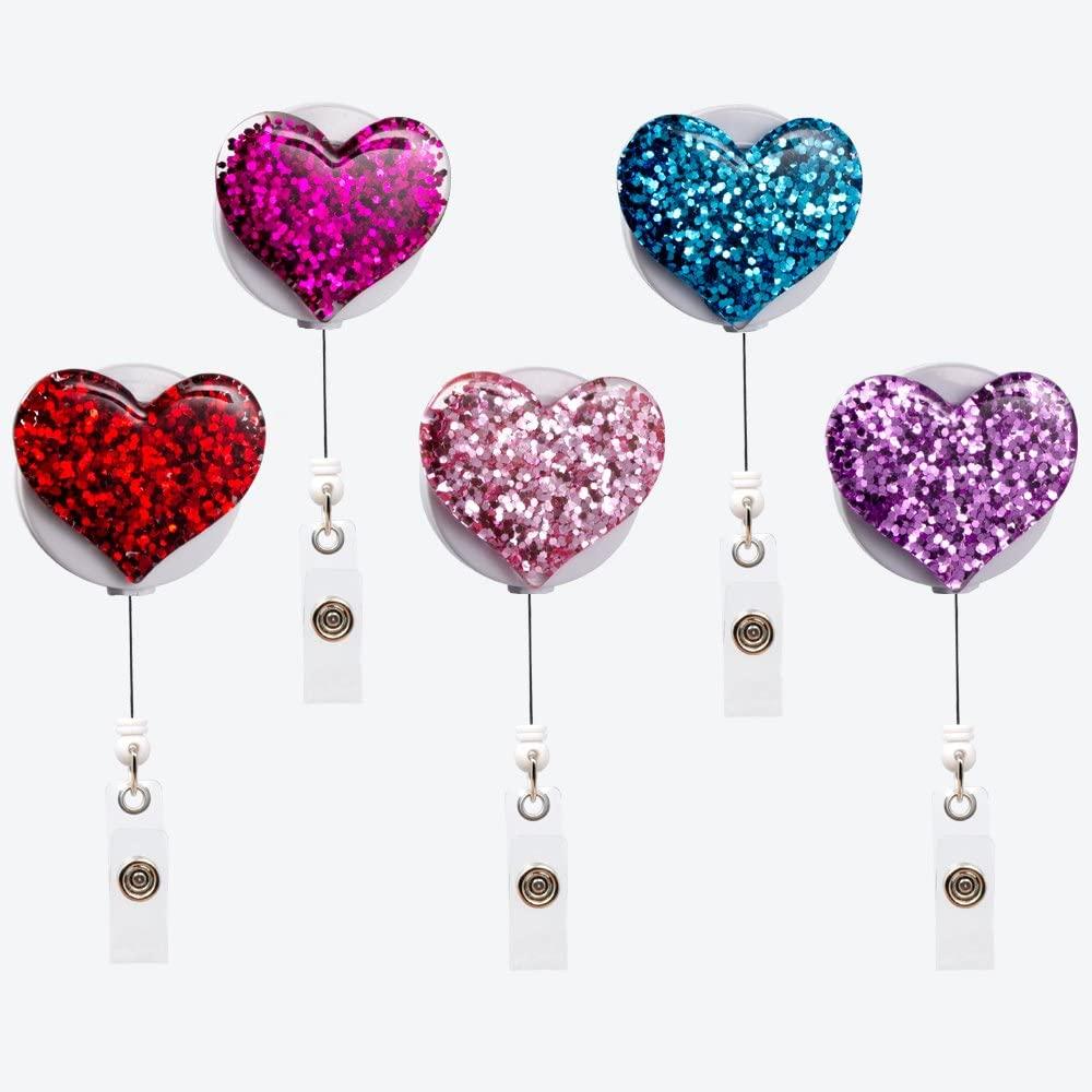 5 шт упаковка bling Популярные любовника сердце Выдвижной ID значок медсестра с держателем типа «крокодил» пластиковый чехол с поворотной застежкой