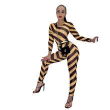 ANJAMANOR с буквенным принтом, в полоску, сетчатые, прозрачные, сексуальные, из двух частей, одинаковые комплекты для женщин, Клубные наряды, боди...(Китай)