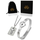 Heart Lock Bracelet and Key Meaning Necklaces 316L Stainless Steel Zirconia Couple Bangle Jewelry Steel Color