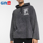 Fashion Streetwear Grey Custom Vintage Embroidery Printing Oversize Distressed Washed Hoodie Men