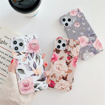 Vintage Flowers Phone Case for iPhone 12,Soft TPU Rubber Gel Floral Phone Cover for iPhone 11 X XS Max 8 Plus