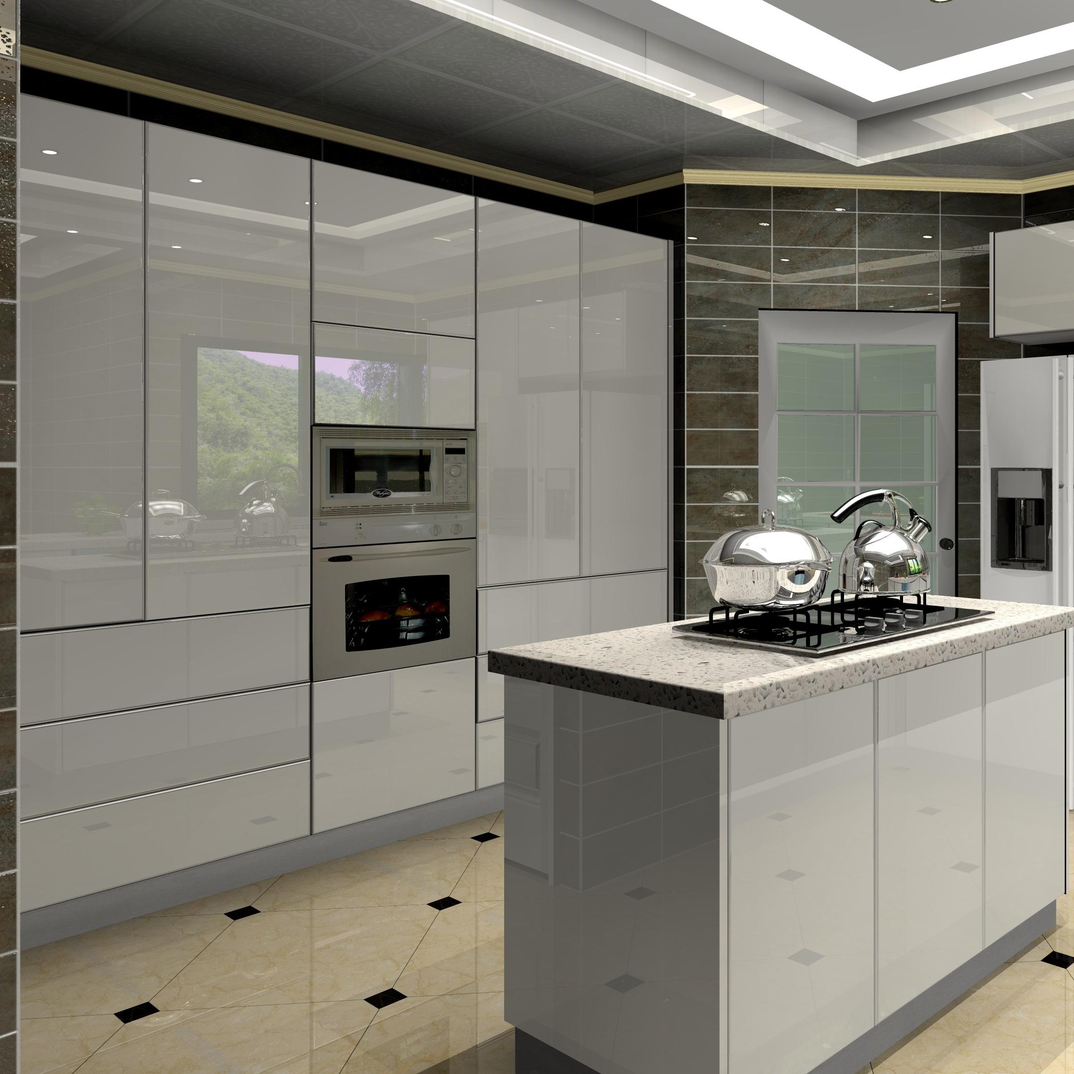 Modern High Gloss White Lacquer Kitchen Cabinet 9pac Kitchen ...