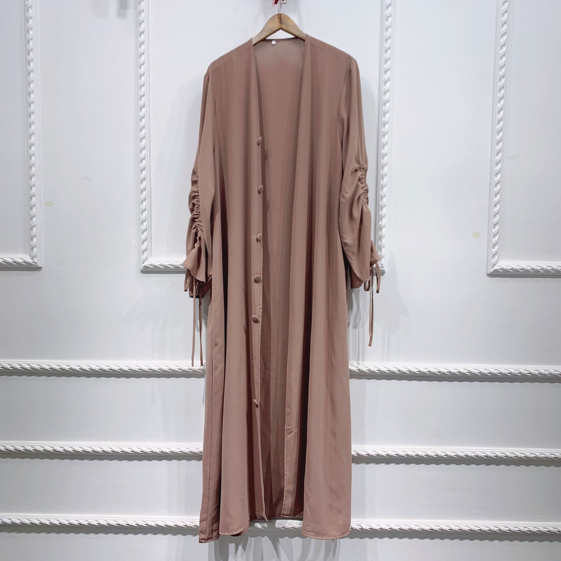 2021 Dubai Middle East muslim party summer dress and stitching sleeved cardigan women's robe Open Abaya
