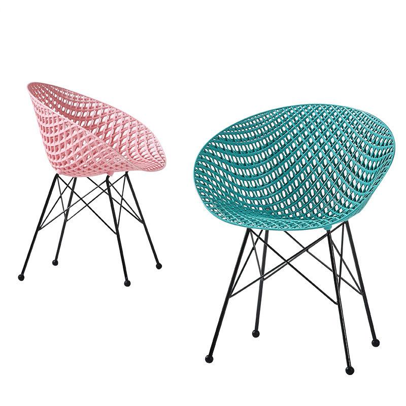 blue color plastic decorative chair leisure chair back rest chair