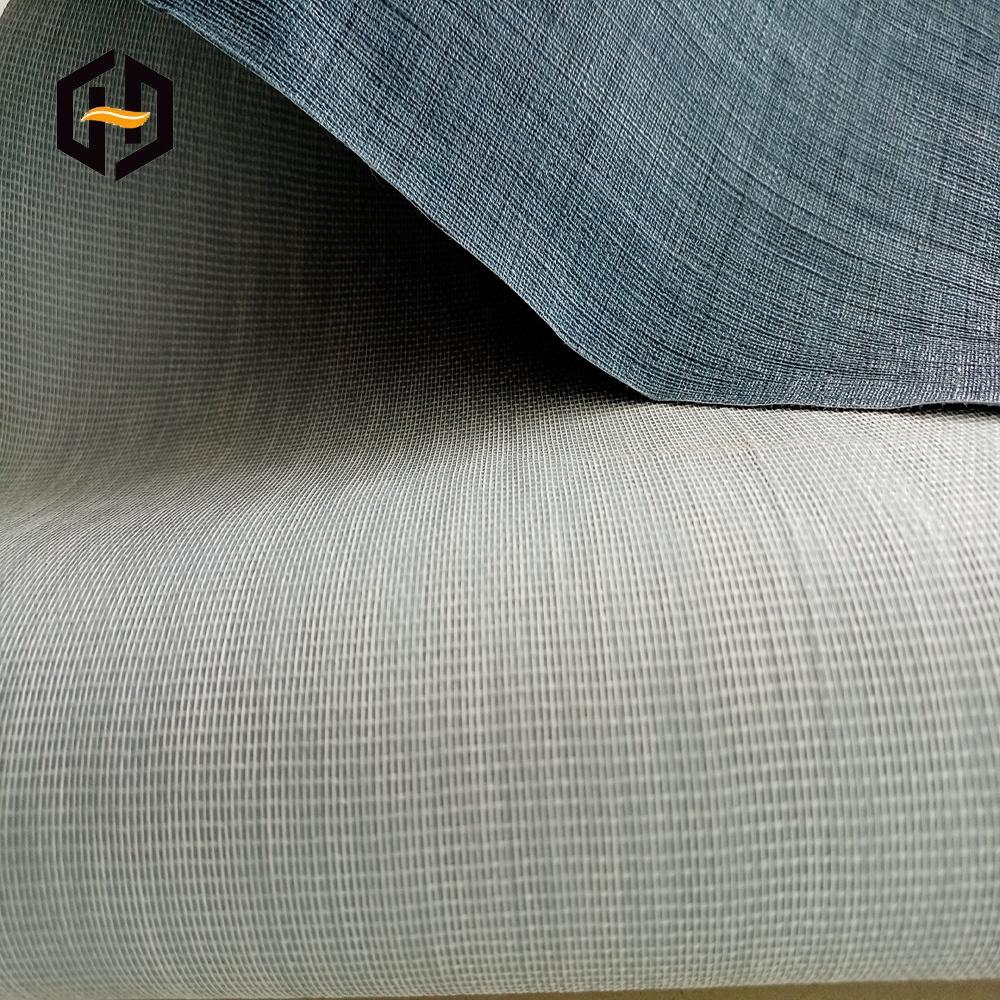 Экологически чистая серая ткань хлопок ПВХ тканая сетка запеченная для виниловых обоев