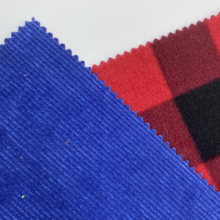 high quality 100% Polyester Corduroy fabric composite fabric polar fleece printing for clothes