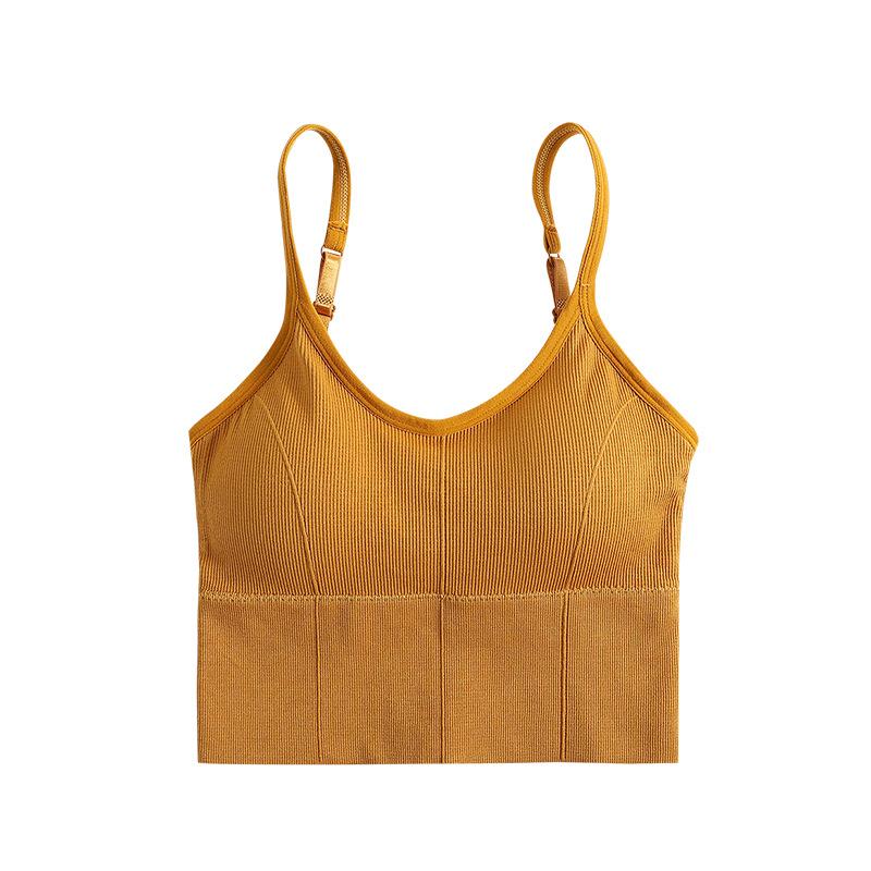 High School Girls Underwear Sports Bra Padded Medium Support Yoga Camisole With Built Shelf Bras Cute Style