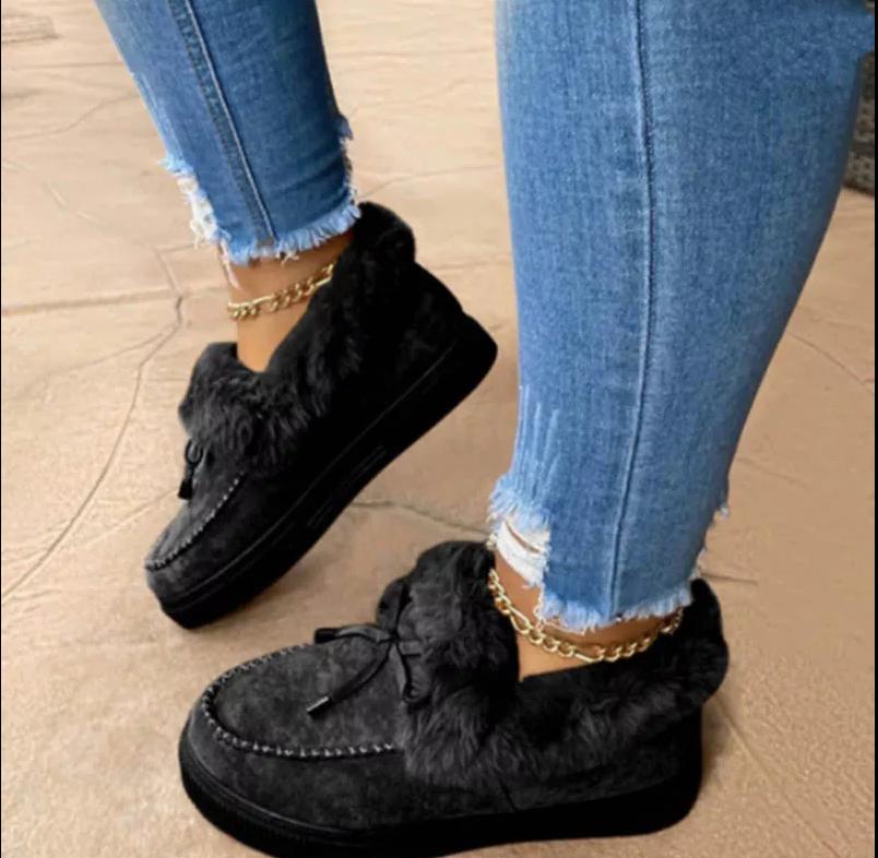 Женские повседневные Меховые Туфли, пушистые туфли на платформе, без застежки, с милым бантом, плюшевые лоферы, плоская подошва, трендовые, Осень-зима