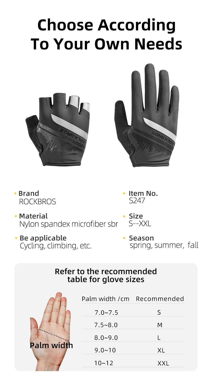 Велосипедные перчатки ROCKBROS, дышащие Нескользящие митенки с пальцами, для сенсорных экранов, для мужчин и женщин